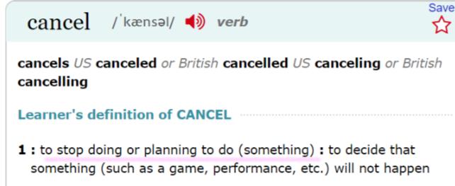 cancel LONGMAN